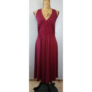 Vintage Torrid Red Berry Halter Dress Crochet